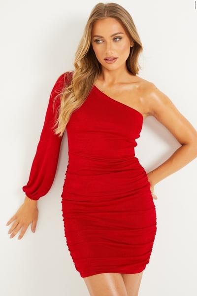 Red One Shoulder Ruched Dress